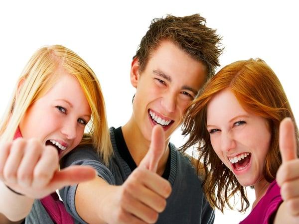 three people having fun together